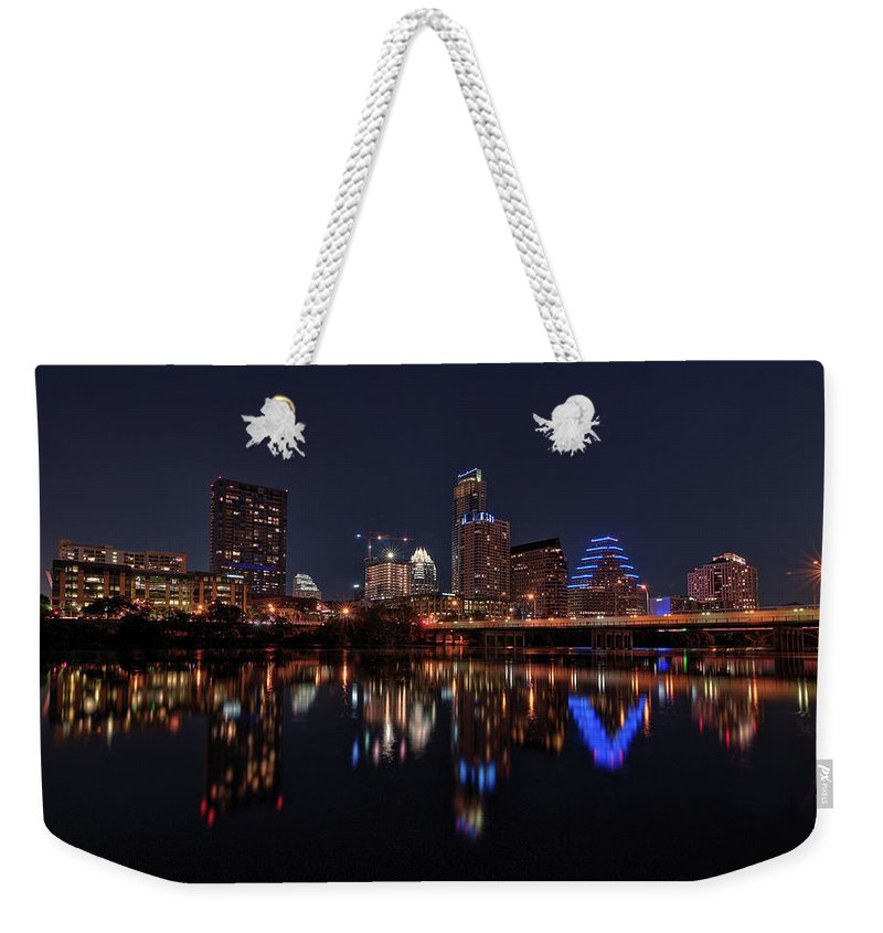 Austin Weekender Tote Bag featuring the photograph Austin Skyline At Night by Todd Aaron