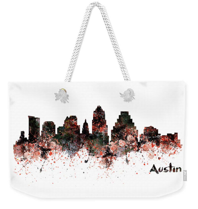 Austin Weekender Tote Bag featuring the painting Austin Skyline by Marian Voicu