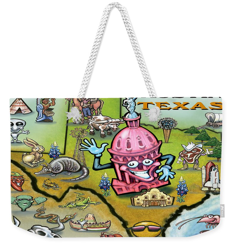 Austin Weekender Tote Bag featuring the digital art Austin Texas Cartoon Map by Kevin Middleton