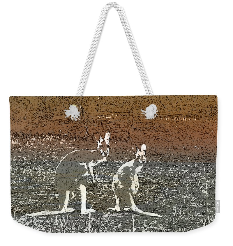 Australain Weekender Tote Bag featuring the digital art Australian Red Kangaroos by Kylie Jones
