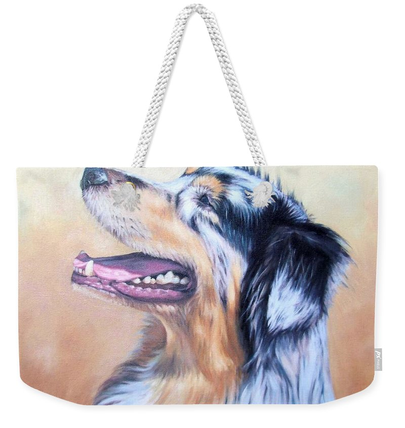 Dog Weekender Tote Bag featuring the painting Australian Shepherd Dog by Nicole Zeug