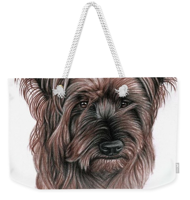Dog Weekender Tote Bag featuring the drawing Australian Terrier by Nicole Zeug