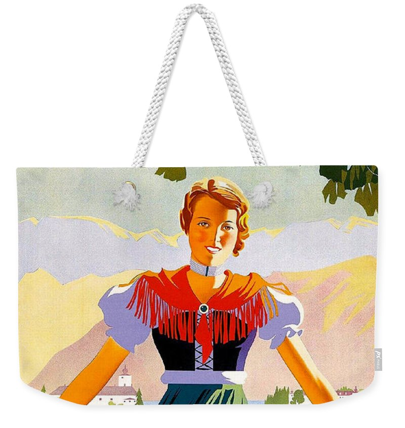 Austria Weekender Tote Bag featuring the painting Austria, Young Woman In Traditional Dress Invites You, Danube River by Long Shot