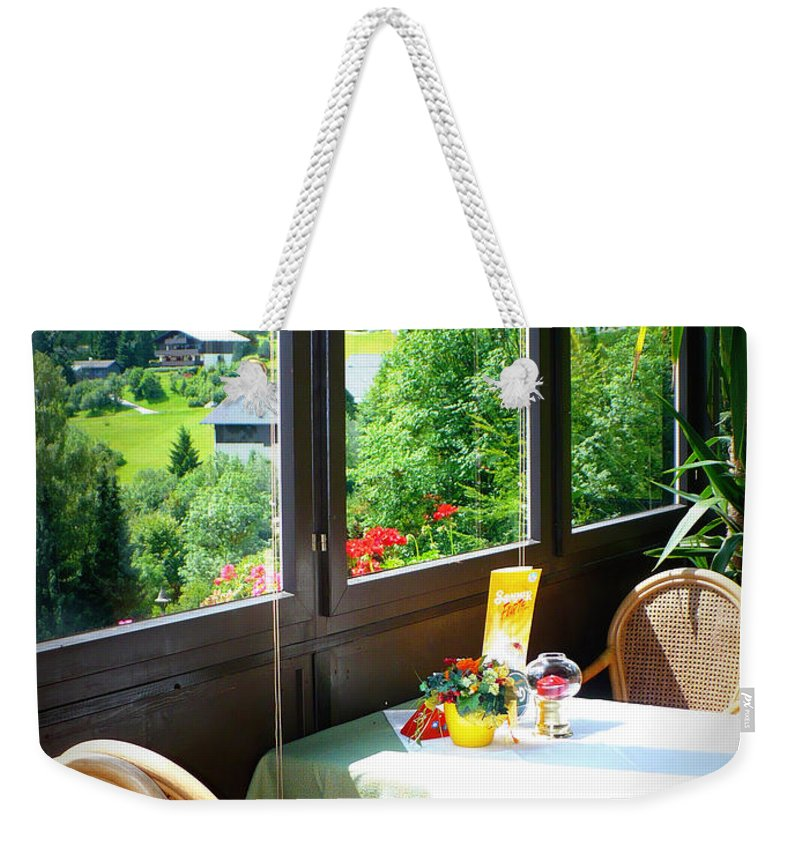 Austria Weekender Tote Bag featuring the photograph Austrian Cafe by Carol Groenen
