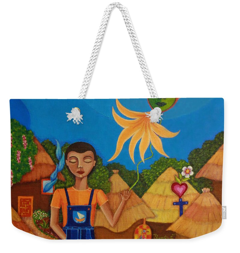 Autism Weekender Tote Bag featuring the painting Autism - A Flight To... by Madalena Lobao-Tello
