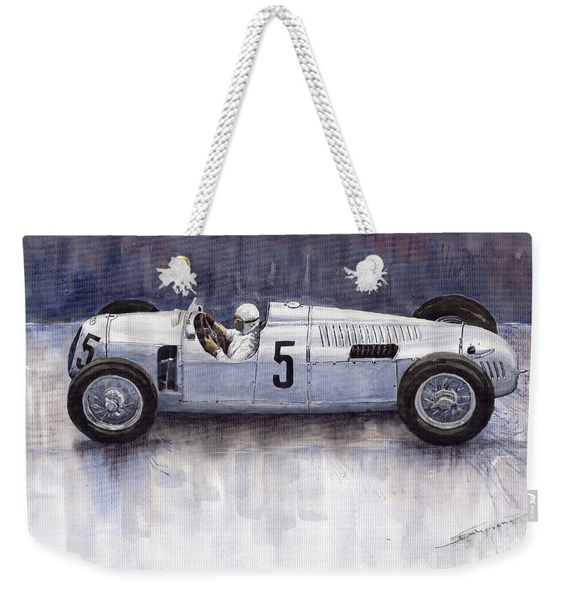 Auto Weekender Tote Bag featuring the painting Auto Union 1936 Type C by Yuriy Shevchuk
