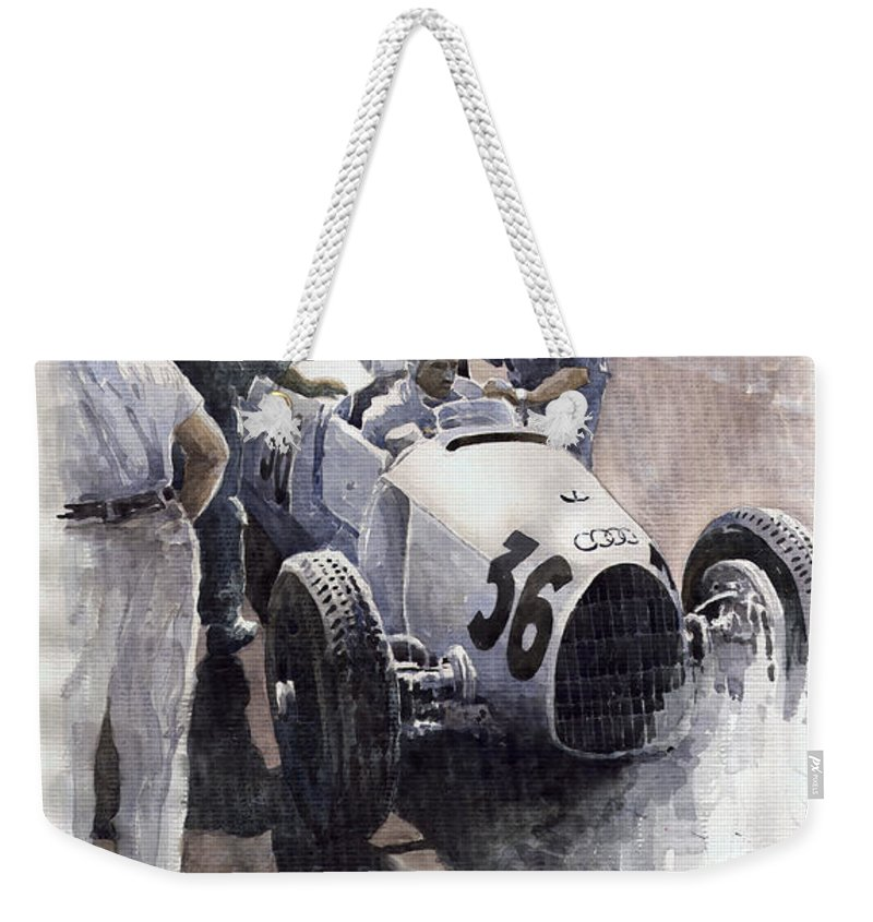 Auto Weekender Tote Bag featuring the painting Auto Union B Type 1935 Italian Gp Monza B Rosermeyer by Yuriy Shevchuk