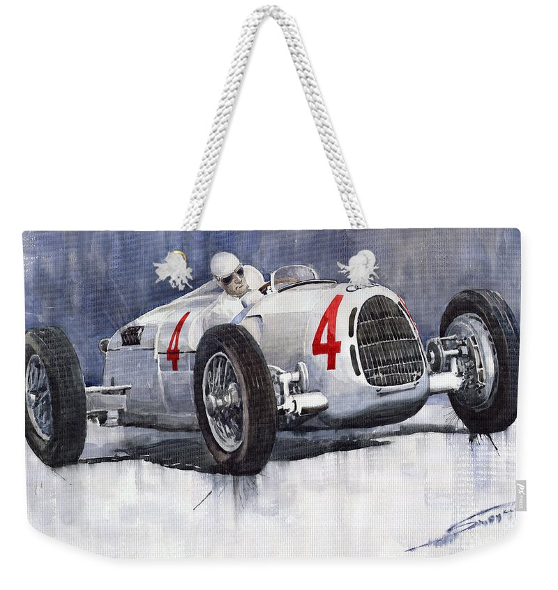 Auto Weekender Tote Bag featuring the painting Auto Union C Type 1937 Monaco Gp Hans Stuck by Yuriy Shevchuk