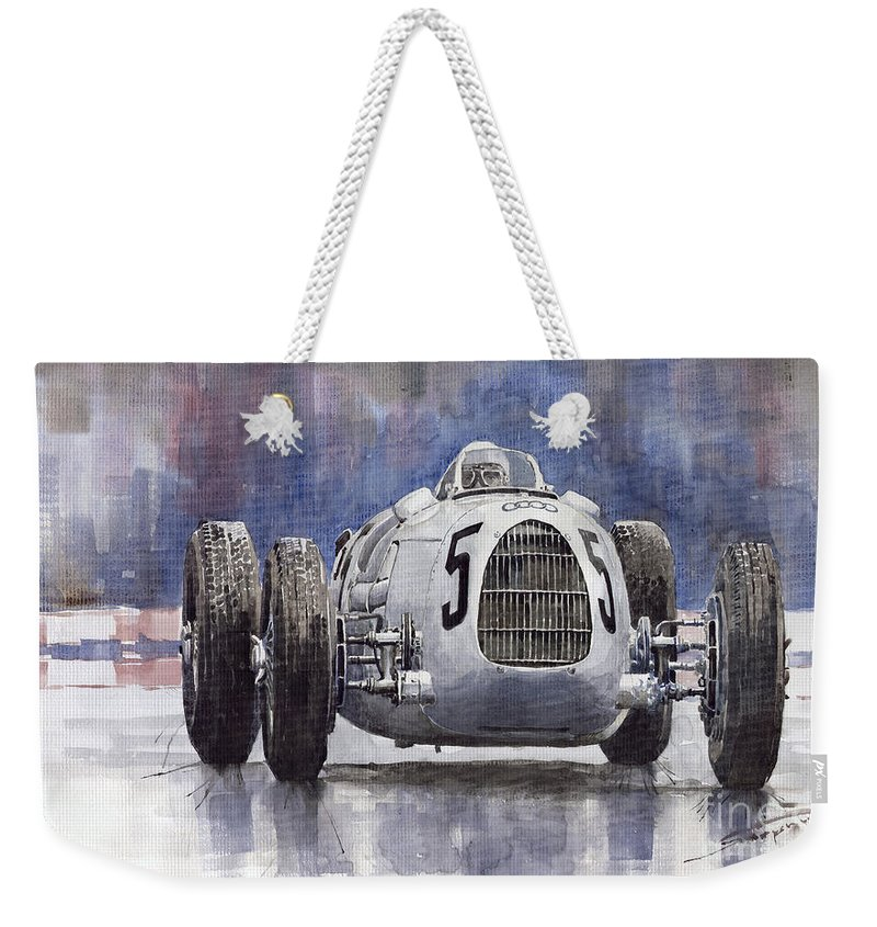 Auto Weekender Tote Bag featuring the painting Auto-union Type C 1936 by Yuriy Shevchuk