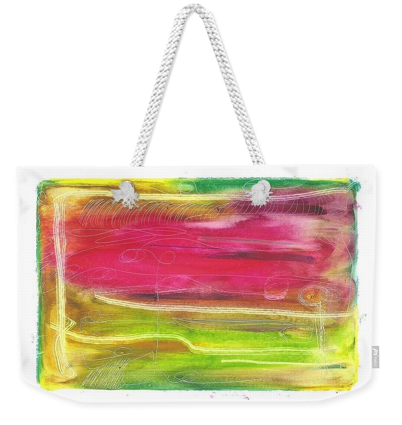 Ronda Stephens Weekender Tote Bag featuring the painting Automatic Joy by Ronda Stephens