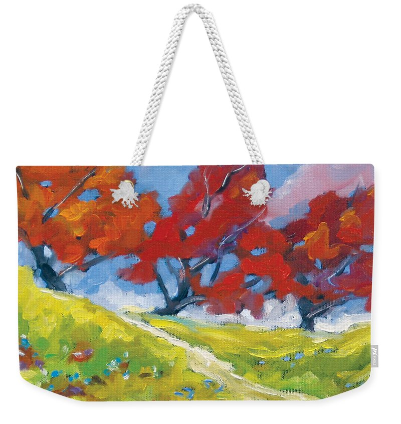 Art Weekender Tote Bag featuring the painting Automn Trees by Richard T Pranke