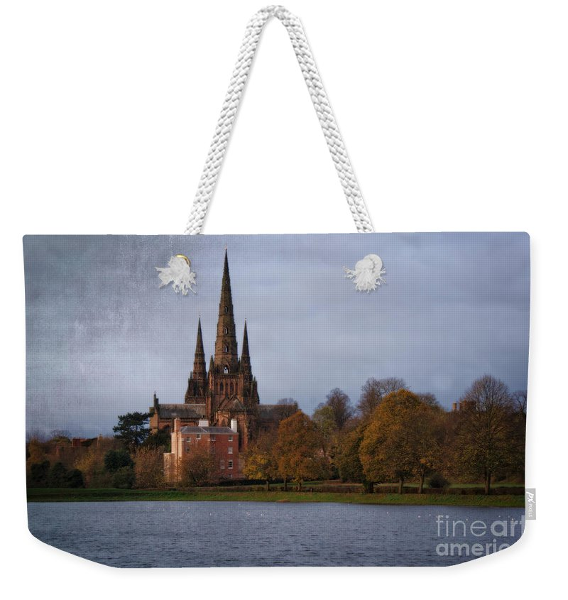 Architecture Weekender Tote Bag featuring the photograph Autumn Lichfield Cathedral by Rawshutterbug