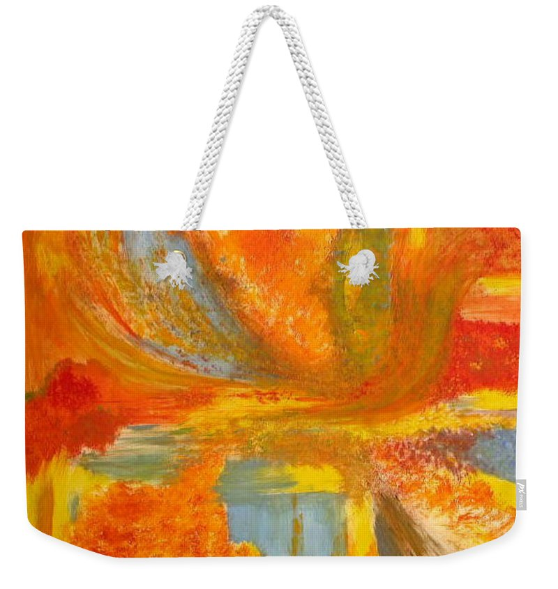 Abstract Weekender Tote Bag featuring the painting Autumn - Indian Summer by Rae Chichilnitsky