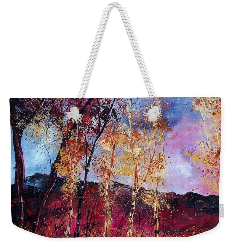 Landscape Weekender Tote Bag featuring the painting Autumn 760808 by Pol Ledent