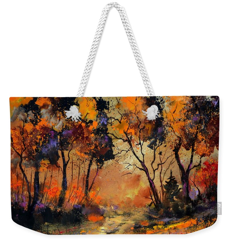 Landscape Weekender Tote Bag featuring the painting Autumn 766130 by Pol Ledent