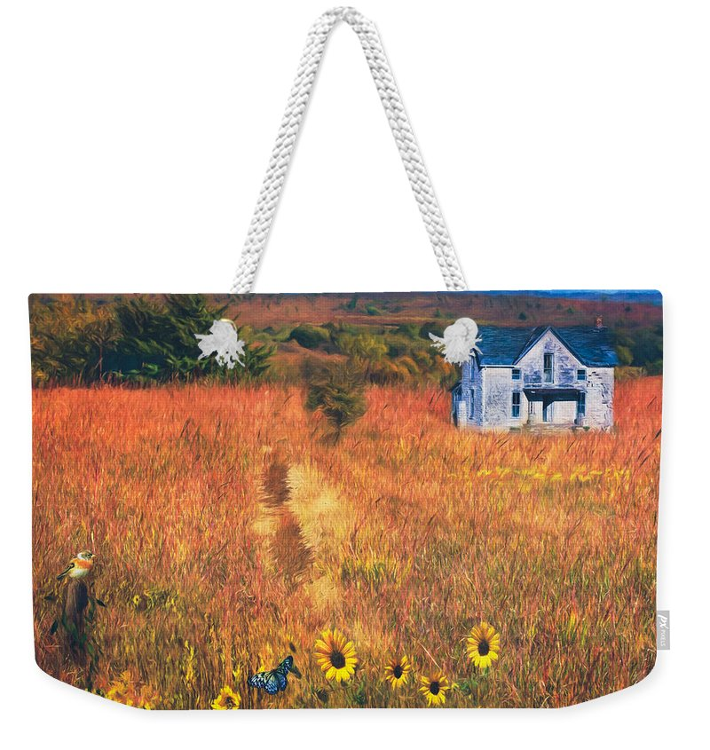 Abandoned Weekender Tote Bag featuring the photograph Autumn Abandoned House In The Prairie by Anna Louise