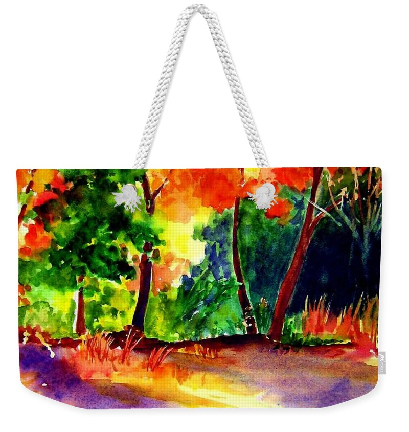 Autumn Weekender Tote Bag featuring the painting Autumn Afternoon by Sandy Ryan