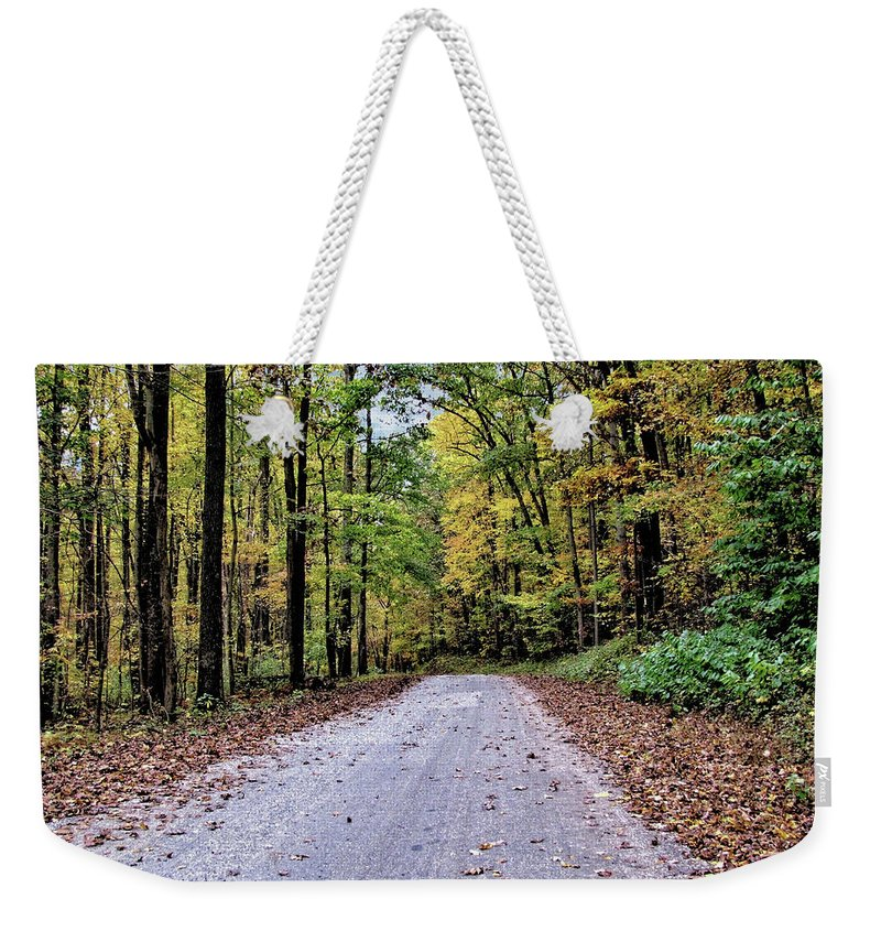 Forest Weekender Tote Bag featuring the photograph Autumn Along A Country Road 1 by John Trommer