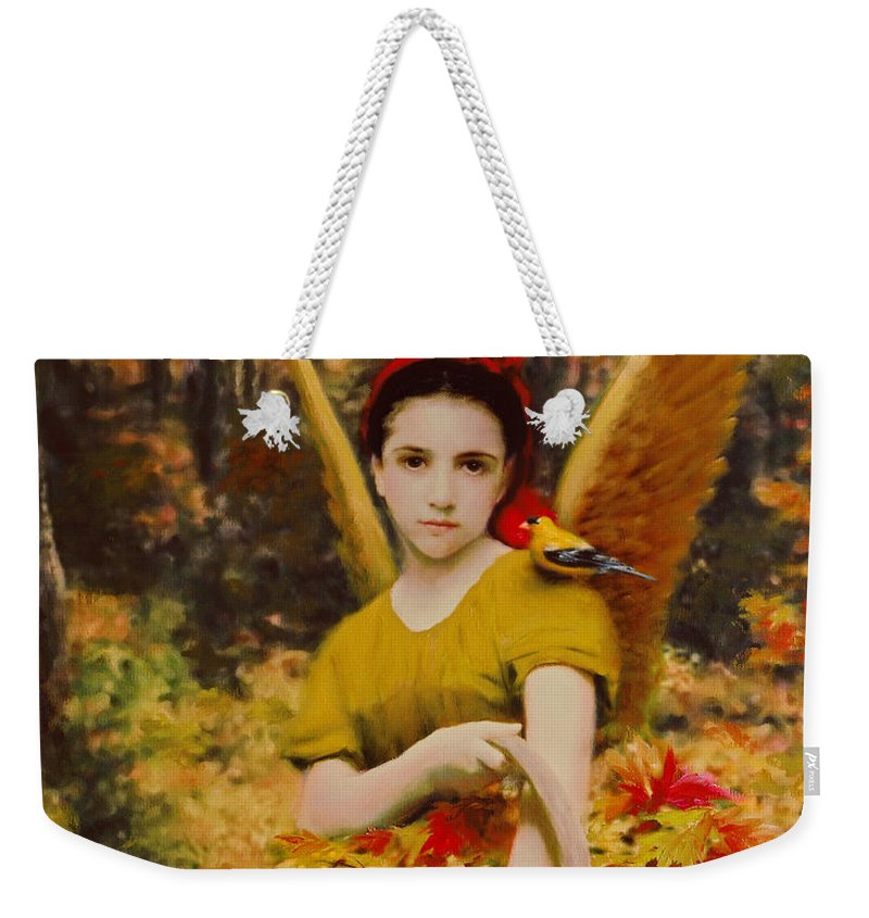 Angel Weekender Tote Bag featuring the painting Autumn Angels by Stephen Lucas