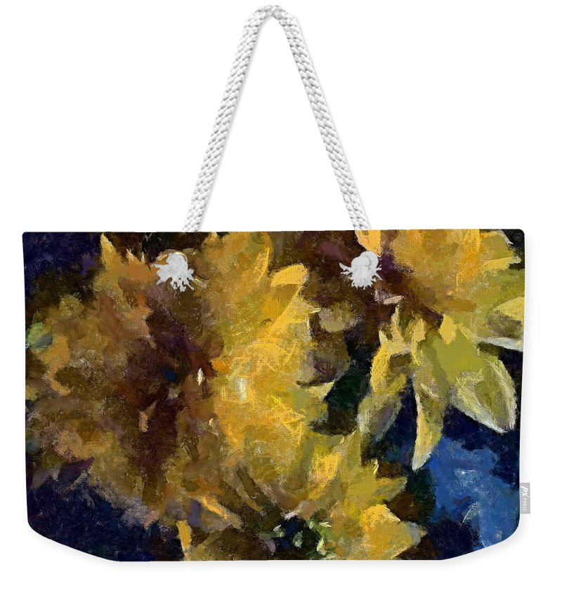 Still Life Weekender Tote Bag featuring the painting Autumn Asters by Dragica Micki Fortuna