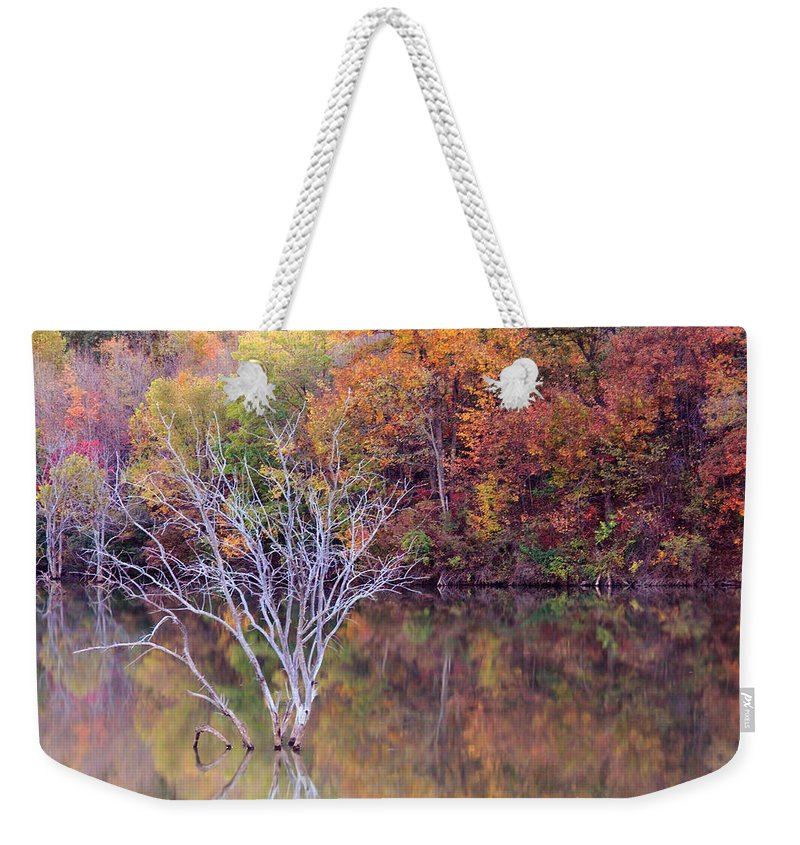 Fall Weekender Tote Bag featuring the photograph Autumn At Alum Creek by Angela Murdock