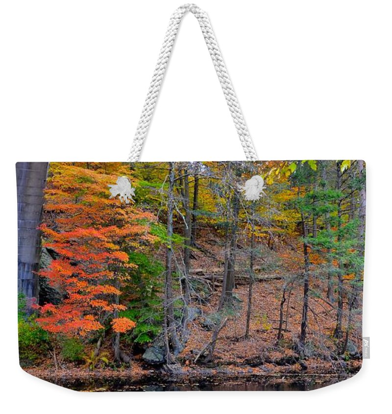 Autumn Weekender Tote Bag featuring the photograph Autumn At Echo Bridge by Corinne Rhode