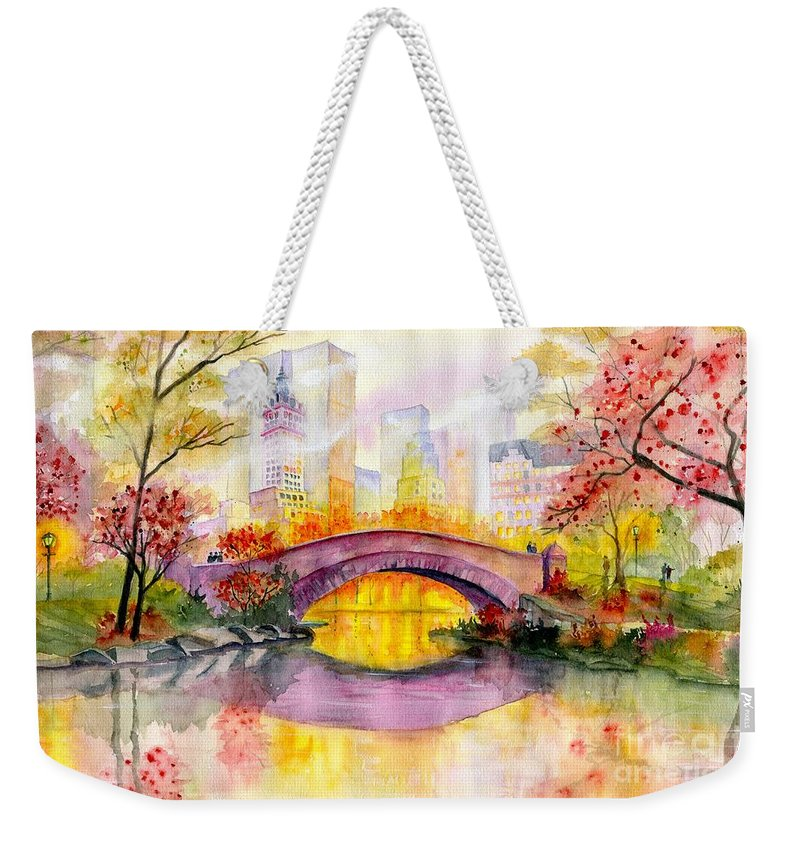 Autumn At Gapstow Bridge Central Park Weekender Tote Bag featuring the painting Autumn at Gapstow Bridge Central Park by Melly Terpening