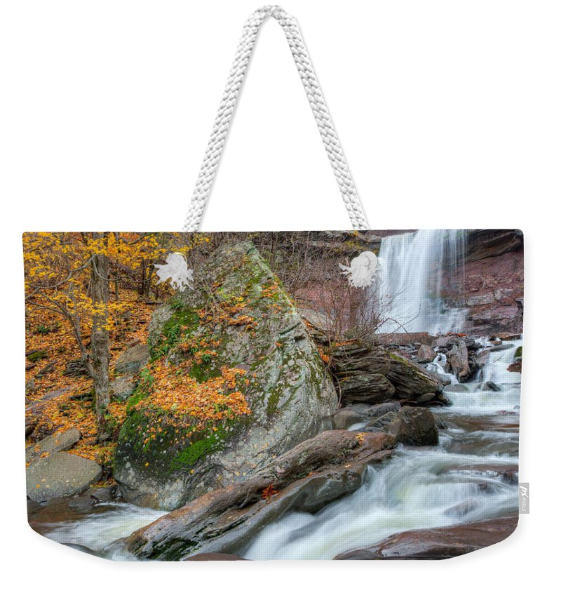 Kaaterskill Clove Weekender Tote Bag featuring the photograph Autumn At Kaaterskill Falls by Bill Wakeley