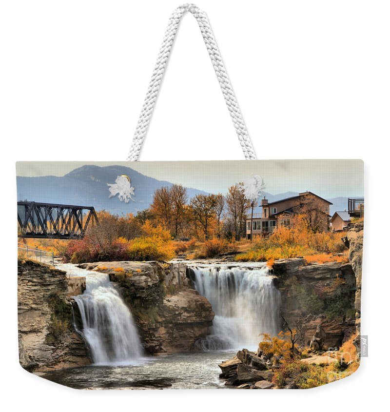 Lundbreck Falls Weekender Tote Bag featuring the photograph Autumn At Lundbreck Falls Provincial Park by Adam Jewell