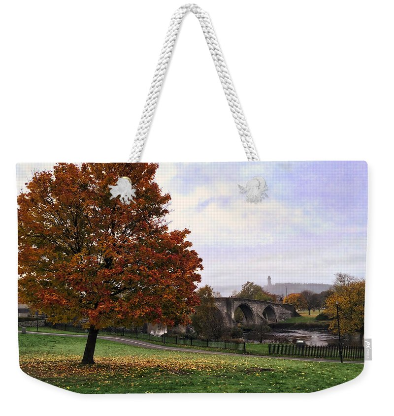 Stirling Bridge Weekender Tote Bag featuring the photograph Autumn At Stirling Bridge by RKAB Works