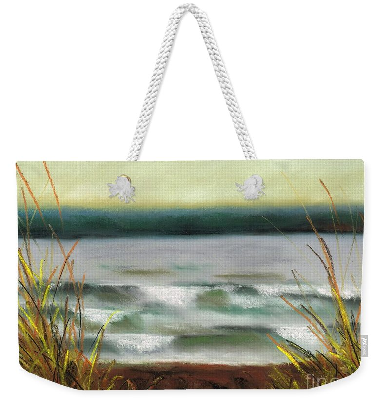 Lake Weekender Tote Bag featuring the painting Autumn At The Lake by Frances Marino