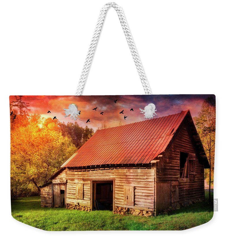 Appalachia Weekender Tote Bag featuring the photograph Autumn Barn At Sunset by Debra and Dave Vanderlaan