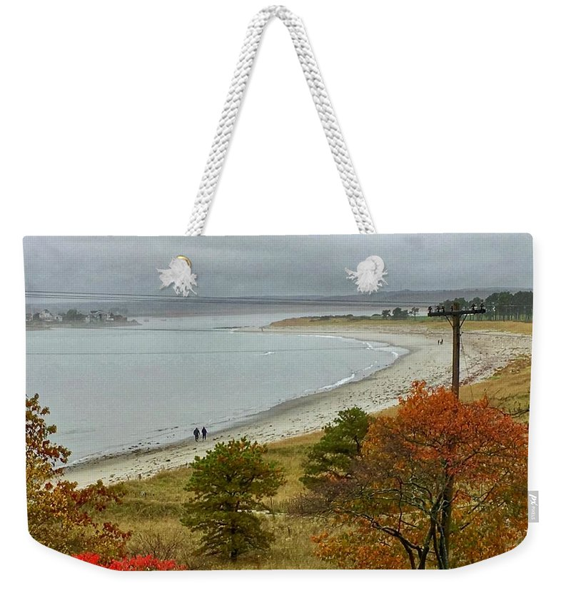 Seascape Weekender Tote Bag featuring the photograph Autumn Beachcombers by Patricia E Sundik