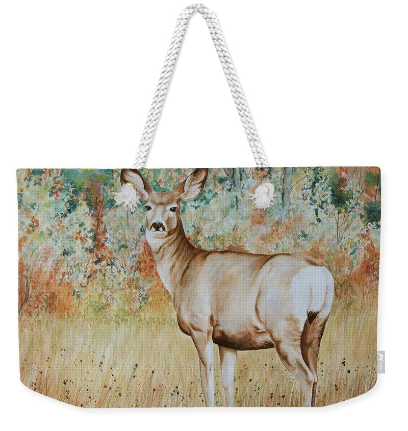 Wildlife Weekender Tote Bag featuring the painting Autumn Beauty- Mule Deer Doe by Elaine Booth-Kallweit