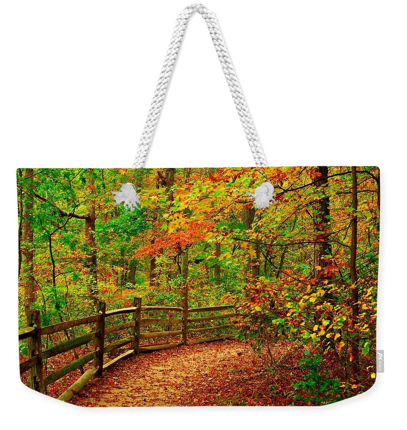 Autumn Landscapes Weekender Tote Bag featuring the photograph Autumn Bend - Allaire State Park by Angie Tirado
