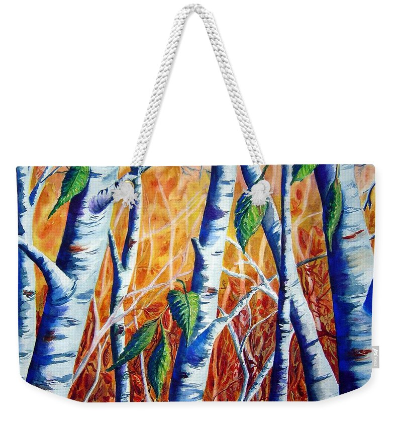 Autumn Birch Trees Weekender Tote Bag featuring the painting Autumn Birch by Joanne Smoley