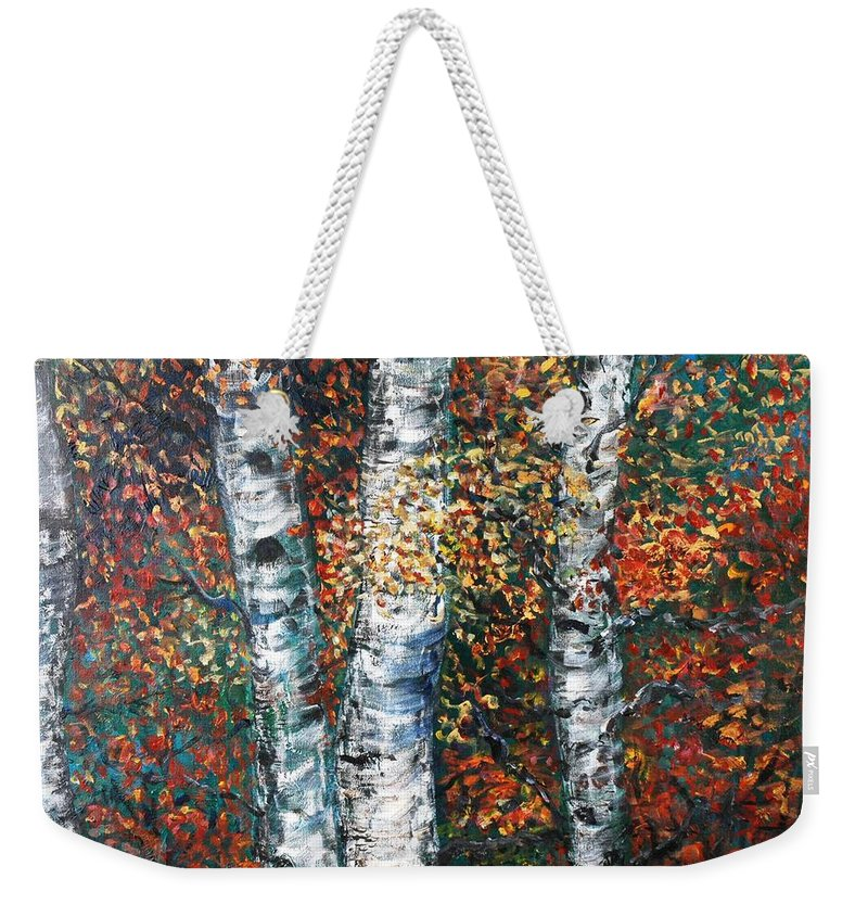 Birch Weekender Tote Bag featuring the painting Autumn Birch by Nadine Rippelmeyer