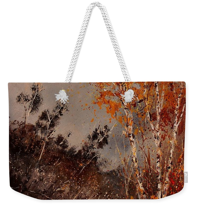 Tree Weekender Tote Bag featuring the painting Autumn Birches by Pol Ledent