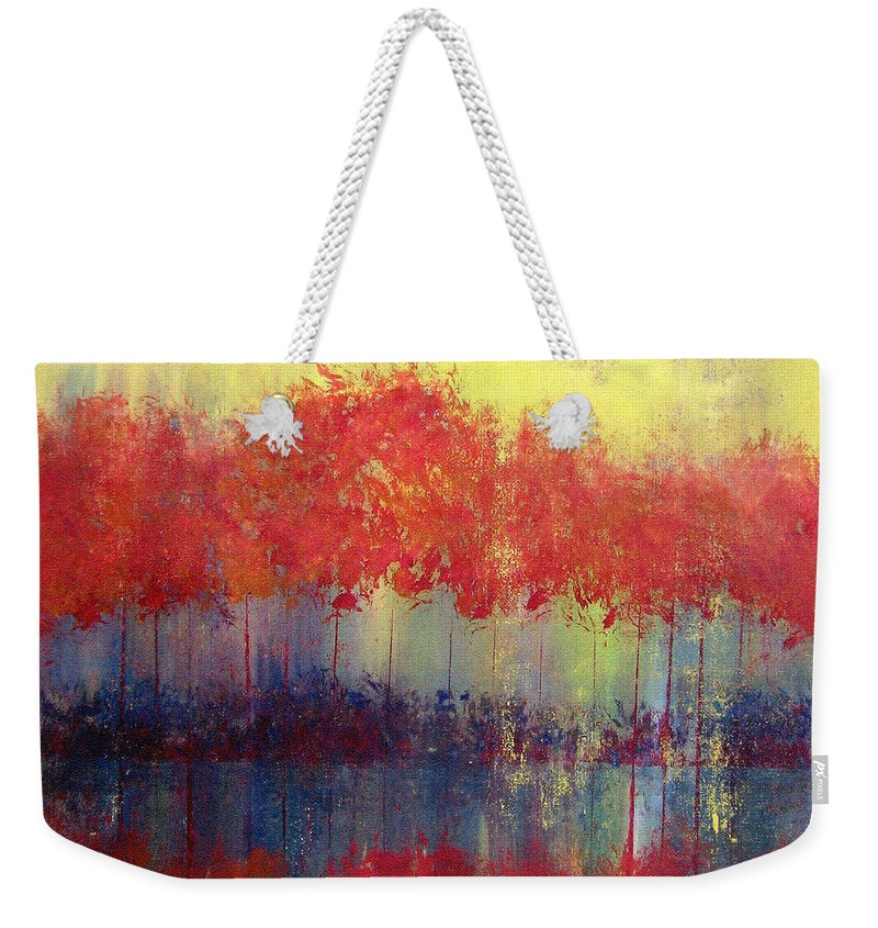 Abstract Weekender Tote Bag featuring the painting Autumn Bleed by Ruth Palmer