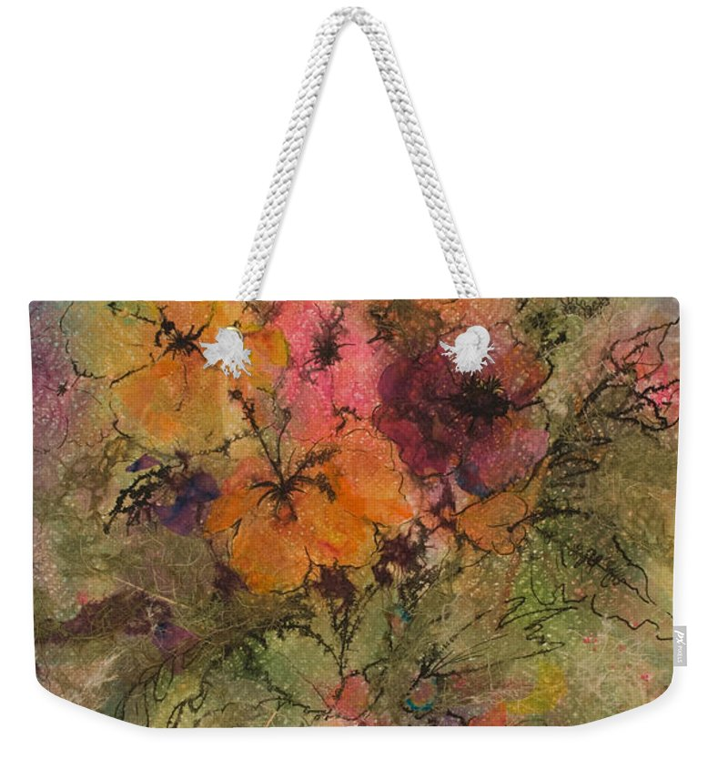 Floral Weekender Tote Bag featuring the painting Autumn Blooms by Barbara Colangelo