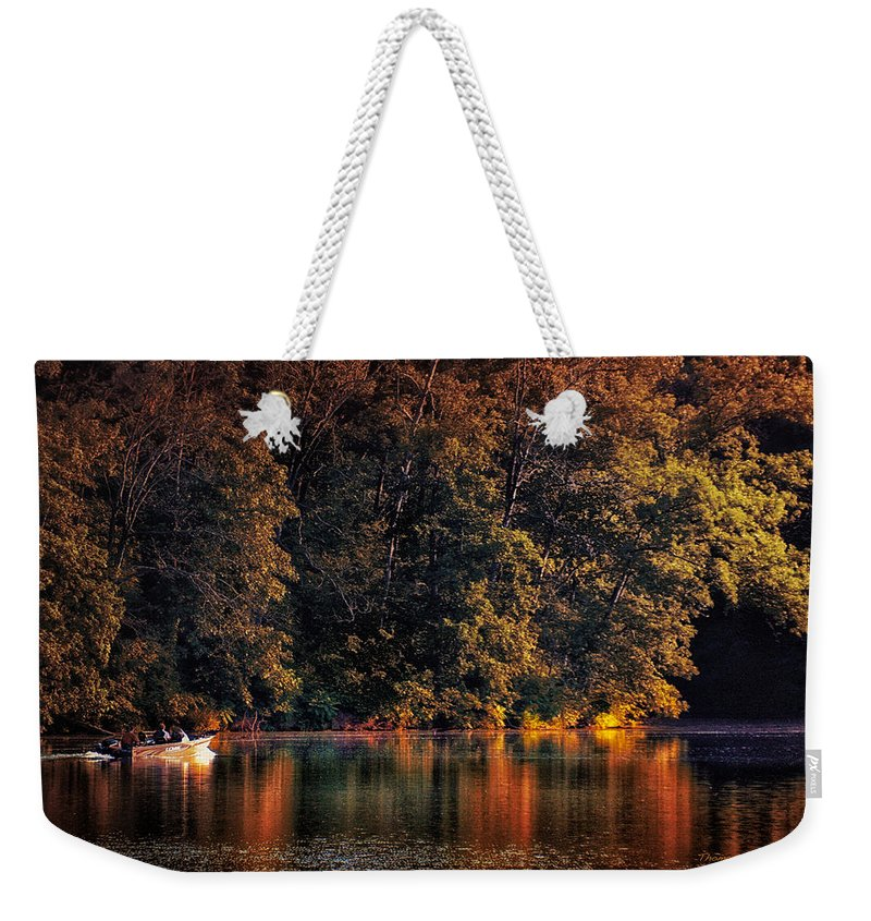 Autumn Weekender Tote Bag featuring the photograph Autumn Boating At Argyle Lake by Thomas Woolworth