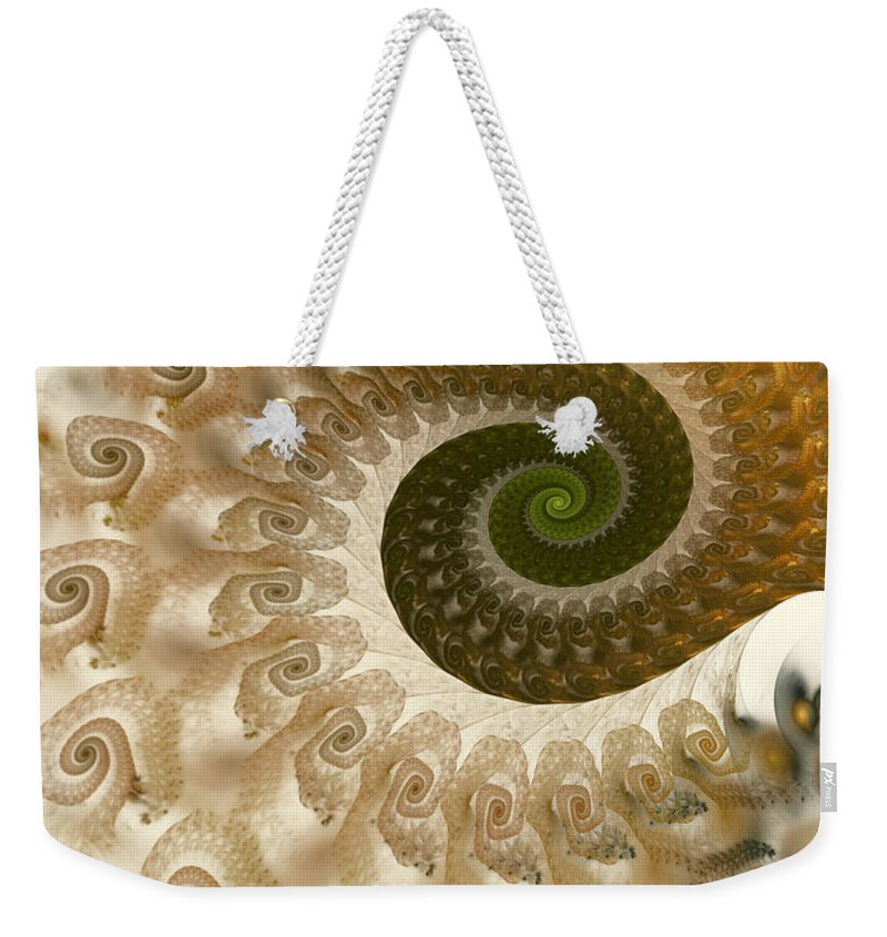 Fractal Weekender Tote Bag featuring the digital art Autumn Breeze by Amorina Ashton