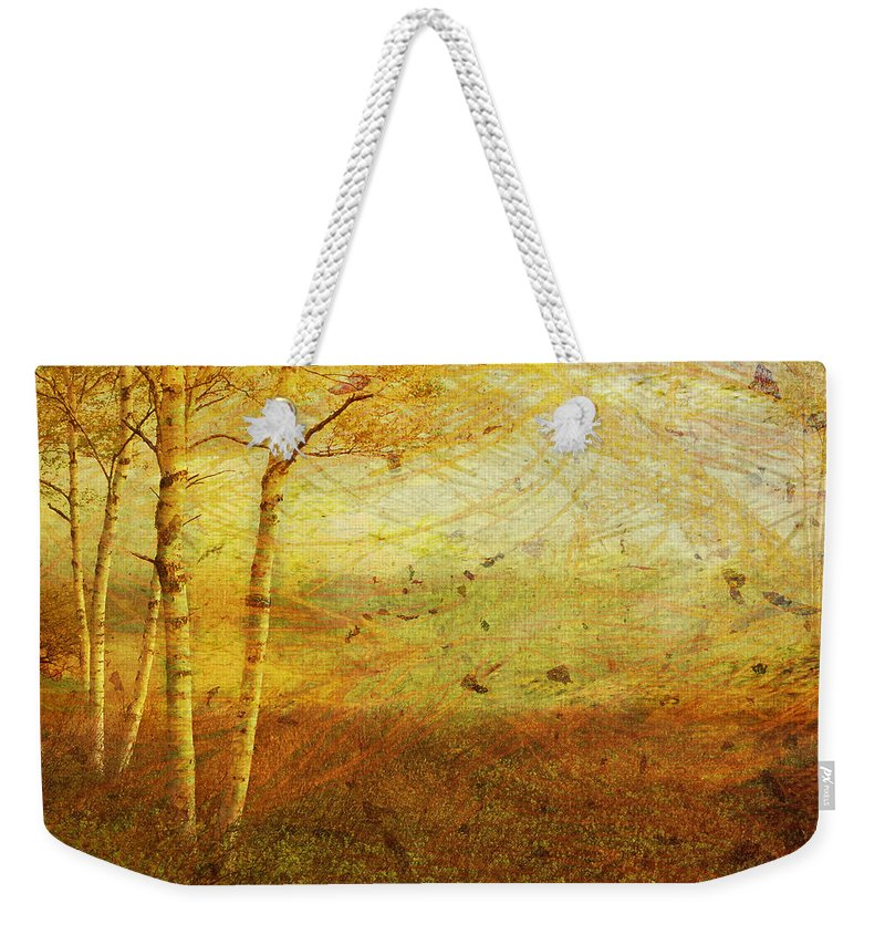 Autumn Weekender Tote Bag featuring the digital art Autumn Breeze by Ken Walker