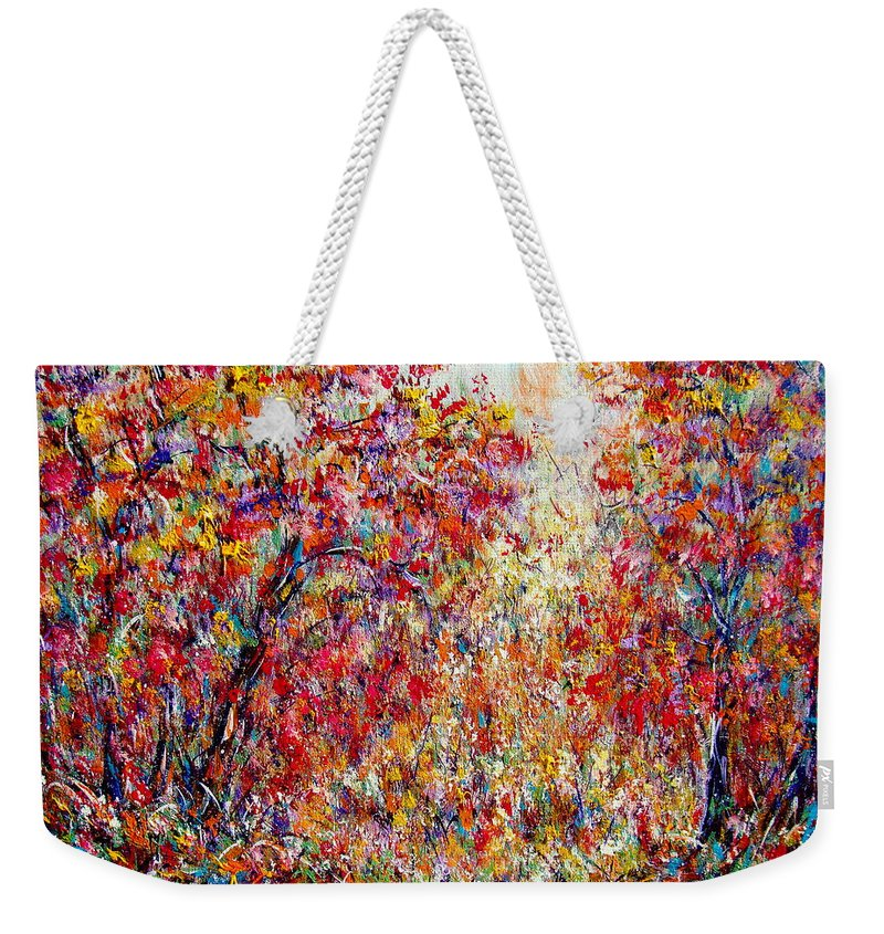 Nature Weekender Tote Bag featuring the painting Autumn Brilliance by Natalie Holland