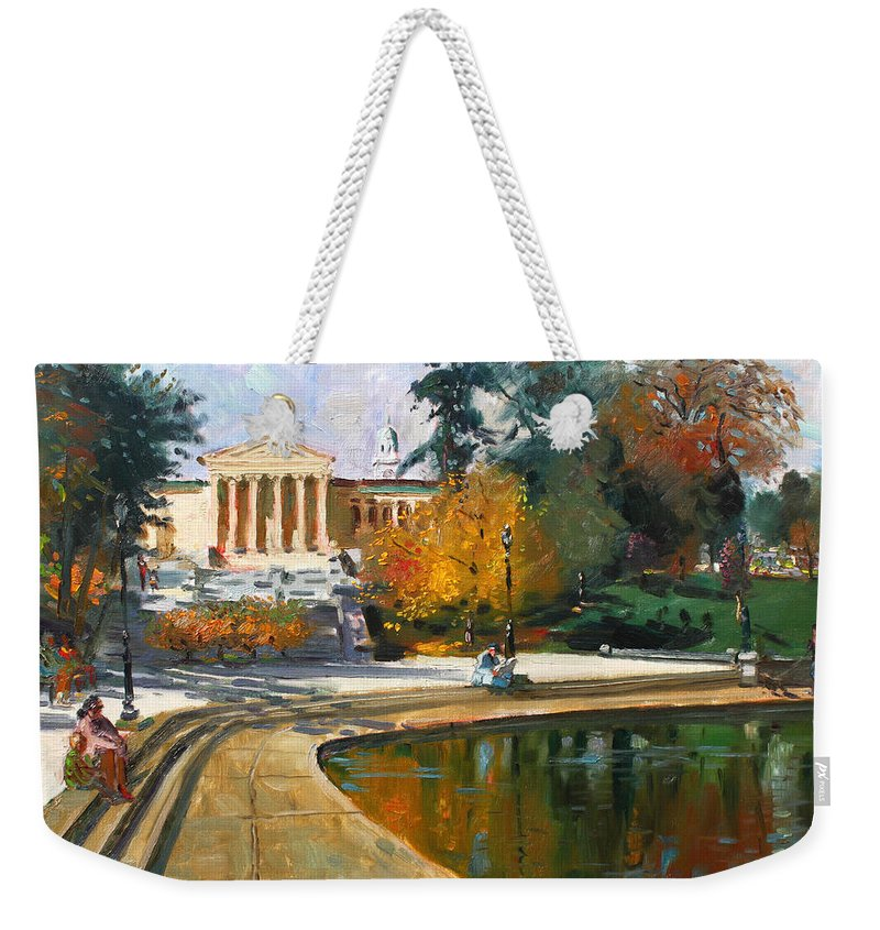 Landscape Weekender Tote Bag featuring the painting Autumn By Delaware Lake by Ylli Haruni