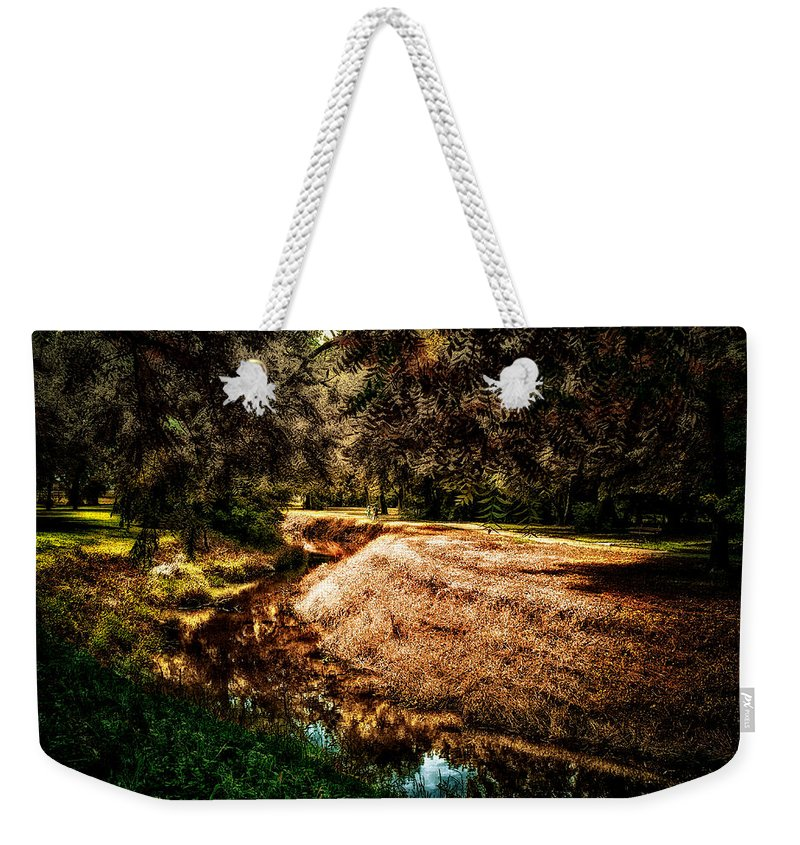 River Weekender Tote Bag featuring the photograph Autumn By The Creek by Thomas Woolworth