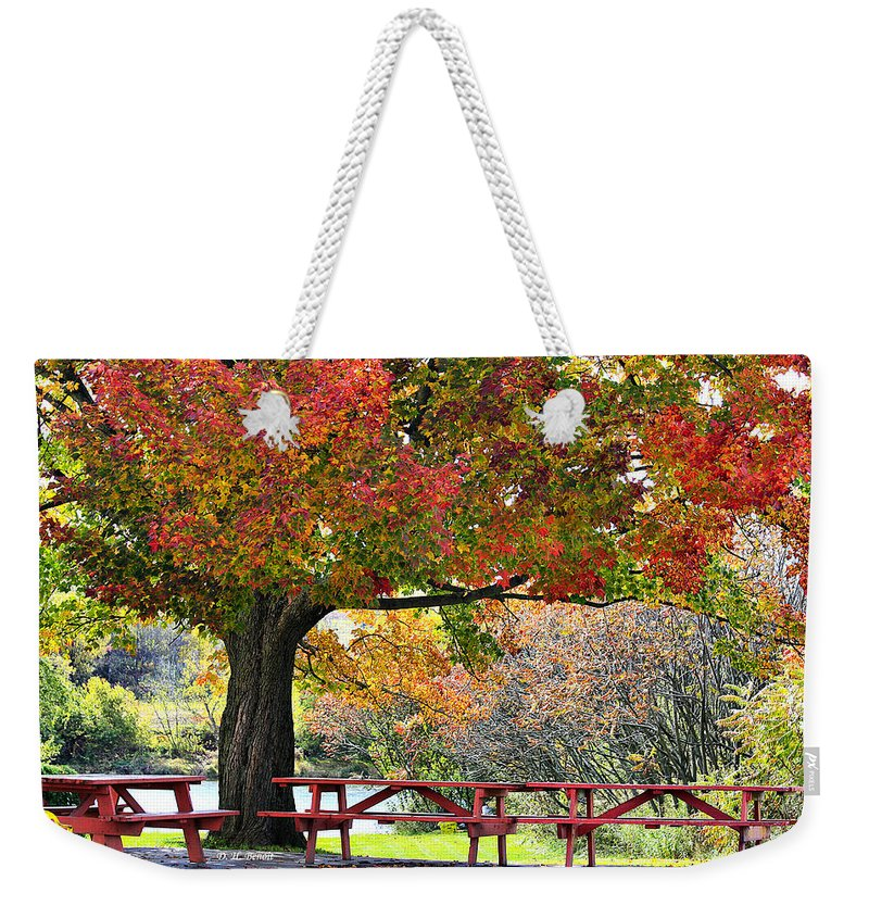 Fall Weekender Tote Bag featuring the photograph Autumn By The River On 105 by Deborah Benoit