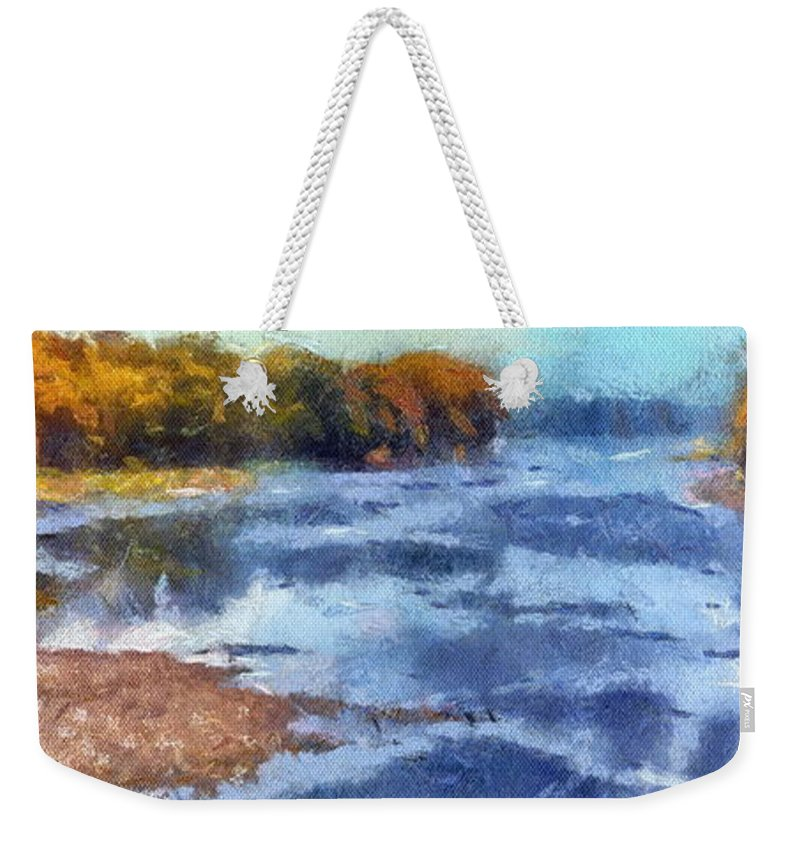 Autumn Weekender Tote Bag featuring the photograph Autumn By The River by Thomas Woolworth
