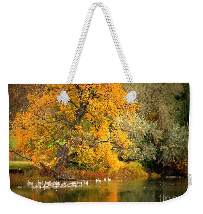Fall Weekender Tote Bag featuring the photograph Autumn Calm by Carol Groenen
