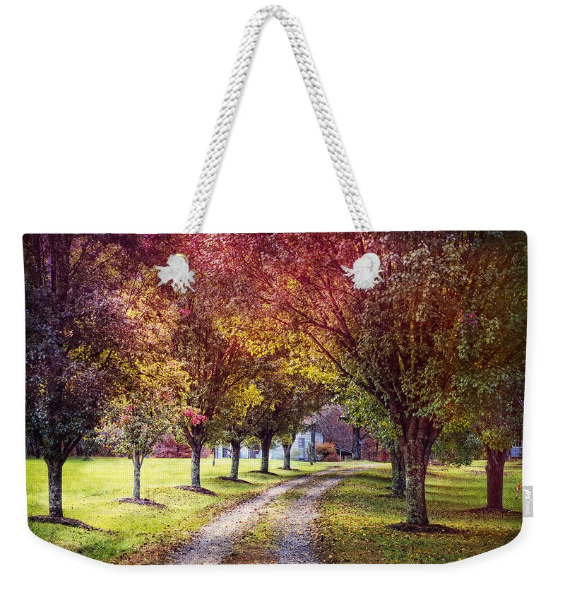 Appalachia Weekender Tote Bag featuring the photograph Autumn Charm by Debra and Dave Vanderlaan